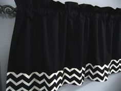 Black and White Chevron Valance Kona Cotton Would LOVE this in royal blue or navy Bathroom Mirror Design, White Bathroom Decor, Chevron Valance, Black And White Valance, Black Subway Tiles, Bathroom Renovation Cost, Black White Bathrooms, Vintage Bathrooms, Red Kitchen