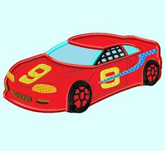Red Race Car APPLIQUE Embroidery Design 3 sizes by LunaEmbroidery, $3.99