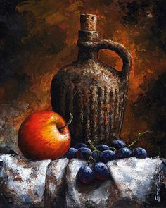 Old Bottle And Fruit by Emerico Imre Toth - Old Bottle And Fruit Painting - Old Bottle And Fruit Fine Art Prints and Posters for Sale