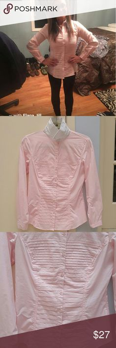 Zac and Rachel Button Up Blouse Zac and Rachel Button Up Blouse. Light Pink with white collar. Excellent for work or any occasion! Worn twice. No pulls or missing buttons, great condition! Size small. 68% Cotton 27%Polyester 5% Spandex *If you purchase ANY 2 ITEMS from my closet, add them to a bundle and RECEIVE 5% OFF entire purchase!! PLUS...you ONLY PAY 1 Shipping Price!! Fast shipper!!! Tops Button Down Shirts