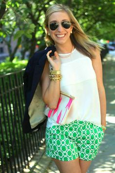 pair printed shorts with a simple top & blazer. jewelry to accessorize