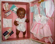 BLACK Tiny Tears - Caracul BABY TEARS - 1956 w/Original Layette, Extra Dress & Accessories
