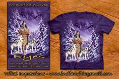 Eyes! Wolf Maiden Hand Dyed T-Shirt From Tribal Impressions- www.indianvillagemall.com $25.95