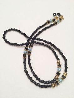 209b2e1ee312 Black Crystal   Blue Glass Pearl Beaded Eye Chain Holder  Handmade