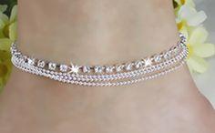 Nueva moda playa cristal de Austrial pulsera del acoplamiento de cadena de pie tobilleras joyería de plata plateado mujeres regalos para el tobillo envío gratis