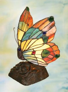 For Sale - Colorful Tiffany Style Stained Glass Butterfly Nursery Night Light Butterfly Lamp, Butterfly Lighting, Butterfly Nursery, Butterfly Design, Butterflies, Flower Lamp, Nursery Night Light, Novelty Lighting, Tiffany Lamps