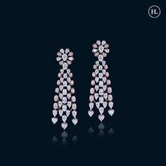 Real Diamond Earrings, Diamond Necklace Set, Diamond Jewellery, Bridal Necklace Set, Bridal Earrings, Hazoorilal Jewellers, International Jewelry, Ear Rings, Jewellery Designs