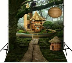 Photography Backdrops Big Tree Wood house Cartoon by ArtBackground