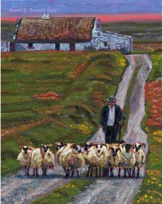 Color Print of Oil Painting, Shepherd Cottage Irish Scene Ireland