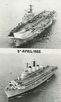 HMS Hermes (R12) & HMS Invincible (R05), Falkland Islands, 1982. Royal Navy Aircraft Carriers, Navy Carriers, British Aircraft Carrier, Portland Dorset, Model Warships, Barrow In Furness, Falklands War, Landing Craft, Navy Ships