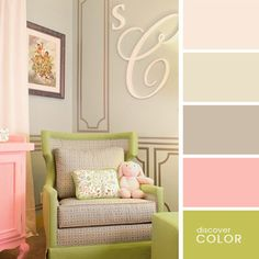 Charming Glamour Furniture's in Baby Girl Nursery Room Design in Pink and Green - hate the wall decal but love the colors and that chair! Nursery Room, Girl Nursery, Girl Room, Girls Bedroom, Master Bedroom, Bedroom Wall, Nursery Decor, Grey Bedrooms, Budget Bedroom