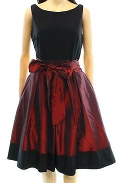 S.L. Fashions NEW Black Red Women's Size 16 Pleated Contrast Bow Dress $109 #336   eBay