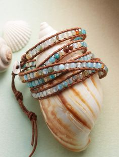 Blue Blazes 5 Wrap Bracelet - Chan Luu sets your wrist ablaze with nearly 200 aqua-dyed fire agates, edged with a leather cord.