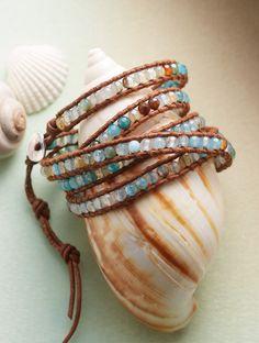 Blue Blazes 5 Wrap Bracelet - Chan Luu sets your wrist ablaze with nearly 200 aqua-dyed fire agates, edged with a leather cord.