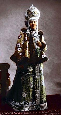 Countess Varvara Vasilyevna Moussine-Pushkinaat the Winter Palace Costume Ball of 1903, in 17th-century boyarishnya's attire.