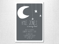 Moon and Stars  Moon Invitation  Star Invitation  Birthday