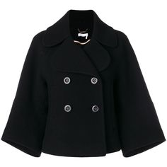 Chloe Cropped Classic Peacoat (18.607.915 IDR) ❤ liked on Polyvore featuring outerwear, coats, clothing /, kirna zabete, pea coat, double breasted pea coat, double breasted peacoat, chloe coat and double-breasted coat