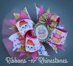 Shopkins Birthday Bow Shopkins Party Bow by RnRshairbowsandmore