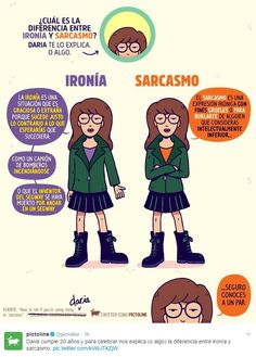 ¿Cuál es la diferencia entre ironía y sarcasmo? - Pictoline - ¿Cuál es la diferencia entre ironía y sarcasmo? Daria Quotes, Daria Morgendorffer, Curious Facts, Spanish Words, Spanish Grammar, Spanish Lessons, Spanish Language Learning, Study Tips, Writing Tips