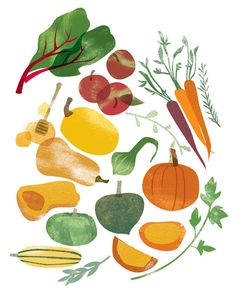 Pair of prints of original illustrations that depict summer to fall - that… Vegetable Illustration, Flat Illustration, Food Illustrations, Graphic Design Illustration, Pinterest Instagram, Food Drawing, Food Art, Watercolor Paintings, Art Prints