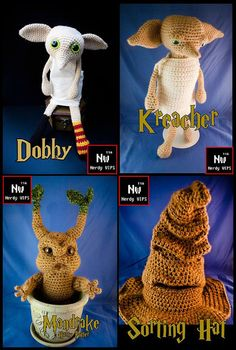 Sorting hat, doby and mandrake knitted toys!