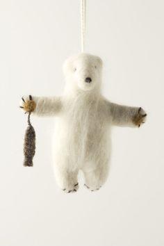 Felted Polar Bear Ornament - Anthropologie always has the best ornaments!:)