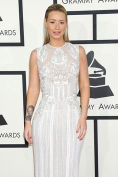 Iggy Azalea - wearing white Roberto Cavalli gown at  the Grammy Awards 2014 - red carpet arrivals