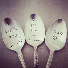 Feeling The Love - Hand Stamped Spoons by The Faded Nest
