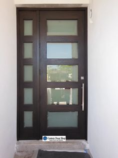 Modern And Clean Front Door Contemporary Mahogany Wood With Etched Gl Inserts Large Pull Matching Sidelight The Gives Added