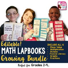Great BUNDLE of lapbooks for multiplication, place value, division, graphing, financial literacy and much more! Great for grades 2-4! Interactive and rigorous activities.