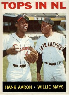 """Tops in NL"" 1964 Topps baseball card featuring Hank Aaron and Willie Mays Baseball Card Values, Old Baseball Cards, Baseball Star, Braves Baseball, Baseball Players, Baseball Classic, Baseball Pants, Softball, Hank Aaron"