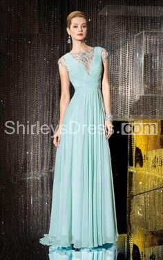91b4cae725 Classic Cap-sleeved V-cut Layered Chiffon Dress With Beaded Neckline Groom  Dress