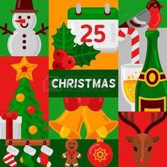 candy cane symbol: Frohe Weihnachten Plakat mit flachen Urlaub Icons in den Quadraten. Vektor-Illustration. Schneemann, Holly Berry und Kalender, Champagnerflasche, Jingle Bells, Tanne mit Geschenk, Hirschkopf. Entwurf des neuen Jahres.