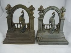 Bradley and Hubbard Cast Iron Peacock Bookends