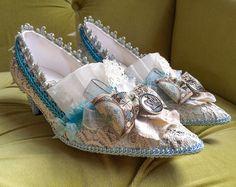 Marie Antoinette zapatos Ivory de encaje revolución francesa azul turquesa plata talones barroco Rococo 17 siglo XVIII París moda Carnivale