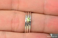 Classic Sterling Silver Peridot Ring 3mm Silver by Alaridesign