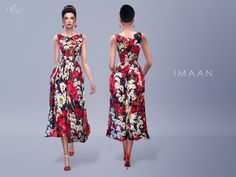The Sims Resource: Poppy Print Dress - IMAAN by Starlord • Sims 4 Downloads