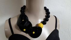 Cool Necklaces, Black N Yellow, Have Time, Large Black, Clip On Earrings, Necklace Lengths, Jewelery, Dangles, Beads