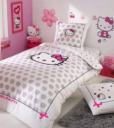 Hello Kitty Bedroom is one of the most popular interior theme for a girl's room. Hello Kitty bedroom requires simple and yet amazing decorative palette Sanrio Hello Kitty, Cama Da Hello Kitty, Hello Kitty Bedroom, Cat Bedroom, Hello Kitty House, Girls Bedroom, Bedrooms, Bedroom Images, Bedroom Themes
