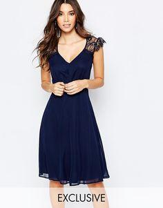 Image 1 of Elise Ryan Lace Midi Prom Dress