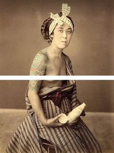 "Rare photograph of tattooed japanese woman from Meiji period ~ from the new photobook ""Yokohama Shashin 1860-1900"", by Claude Estèbe, YellowKorner editions, 2014.........PARTAGE OF JUST LOVE JAPAN.......ON FACEBOOK............."