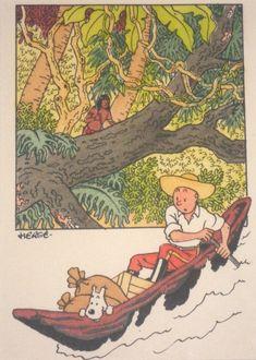 Hergé (Studios) : Tirage aquarellé Tintin L'oreille cassée 1942 Comic Art