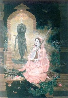 Meera Bhai and her beloved Krishna.