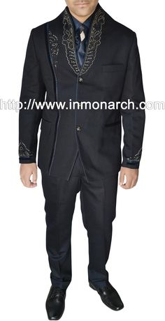 ec67d408ab85 Mens Jodhpuri suit made in black color pure polyester fabric. Hand  embroidered as shown. It has bottom as trouser. InMonarch