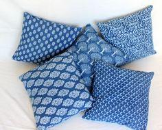 5 Pc Lot Indigo Blue Hand Block Printed Cotton Cushion Cover Pillow Case by ArtofPinkcity on Etsy Plaid Throw Pillows, Throw Pillow Cases, Pillow Covers, Blue Cushion Covers, Blue Block, Printed Cushions, Indigo Blue, Printed Cotton, Decorative Pillows