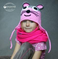 """Komplet """"Myszka""""  z kominem. Crochet hat for baby."""
