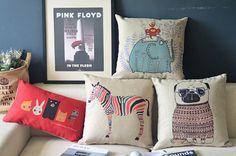 cotton linen Fabrics animals Lumbar pillow shade Cute little animal series pillow sham elephant zebra dog printed Pillow Cover pillowcase