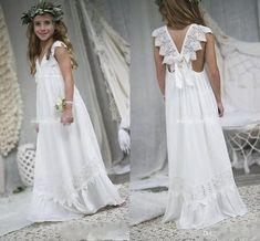 a2e28d71cb8 2018 New Arrival Boho Flower Girl Dresses For Weddings Cheap V Neck Chiffon  Lace Child Communion