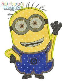 Minion applique embroidery design by Stitcheroo Designs