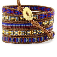 Chan Luu - Blue Mix Sectioned Wrap Bracelet on Natural Brown Leather, $195.00 (http://www.chanluu.com/wrap-bracelets/blue-mix-sectioned-wrap-bracelet-on-natural-brown-leather/)